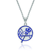 Sterling Silver Mlb New York Yankees Enamel Disc Pendant Necklace. 18&qu..