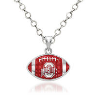 Sterling Silver the Ohio State University Enameled Football Pendant Necklace..