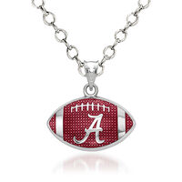 Sterling Silver the University of Alabama Enameled Football Pendant Necklace..