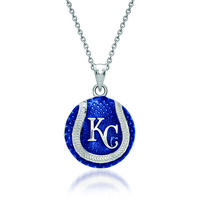 Sterling Silver Mlb Kansas City Royals Baseball Enamel Pendant Necklace. 18&..