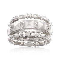 """Image of """".10 ct. t.w. Diamond Jewelry Set: Three Stackable Rings in Sterling Silver. Size 6"""""""