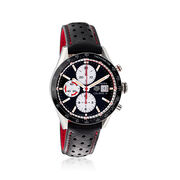 TAG Heuer Carrera Men's 41mm Auto Chronograph Stainless Steel Watch With Black Leather