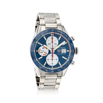 23750cf969eef TAG Heuer Carrera 41mm Men s Auto Chronograph Stainless Steel Watch - Blue  Dial